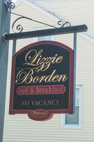 The  sign at the front door of the Lizzie Borden Bed & Breakfast.